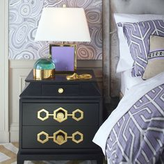 Park Avenue Luxe: Embellished with Jonathan Adler's signature hexagon motif, the dramatic details of the Turner Pagoda Side Table carry this eye-catching design to new heights. Perch one on either side of the bed to punctuate with panache. Available exclusively at Coco Republic. #CocoRepublic #JonathanAdler #Bedroom #SideTable #Decor #InteriorStyling #Inspiration