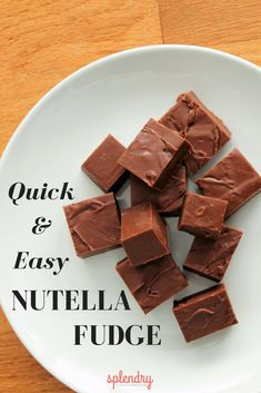 A delicious recipe for quick and easy Nutella fudge (only 4 ingredients!) that takes just minutes to prepare! You'll love this simple, no-bake recipe! Desserts Quick and Easy Nutella Fudge - Splendry Nutella Snacks, Nutella Fudge, Nutella Recipes No Bake, Fudge Recipes, Candy Recipes, Baking Recipes, Fast Fudge Recipe, Nutella Deserts, Baking Ideas