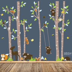 This birch tree vinyl wall decal mural,in sky blue,green,orange,yellow,beige and brown colors,is sure to be the perfect way to transform your