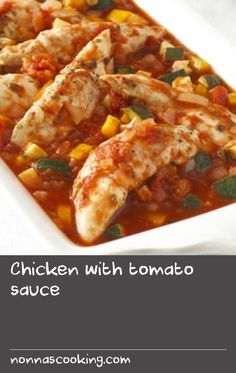 Chicken with tomato sauce |      This quick and easy one-pot dish - all cooked in the microwave - is perfect for a midweek meal and is delicious with a jacket potato, pasta or rice and a green salad.