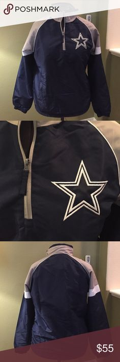 NFL Dallas Cowboys Jacket NFL Dallas Cowboys Pullover Jacket Medium has a side zipper to easily pull over.  New with tags never used and comes from a smoke and pet free home. Questions please ask, bundle and save NFL Jackets & Coats Windbreakers