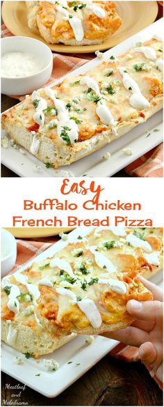 Easy Buffalo Chicken French Bread Pizza - Ready in 20 minutes - a quick and easy, cheesy dinner or game day appetizer!