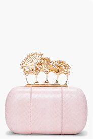 Pink Snakeskin Knuckle Box Clutch