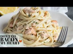 This Salmon Pasta couldn't easier to make! Served with a Creamy Dill Sauce, quick date night dinners have never been so delicious! Pasta Recipes For Two, Easy Healthy Pasta Recipes, Creamy Pasta Recipes, Baked Pasta Recipes, Chicken Pasta Recipes, Dinner Recipes, Cooking Recipes, Appetizer Recipes, Creamy Salmon Pasta