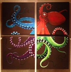 four colors octopus Octopus Painting, Octopus Art, Painting & Drawing, Octopus Tattoos, Kraken, Octopus Pictures, Cthulhu, Ocean Art, Painting Inspiration