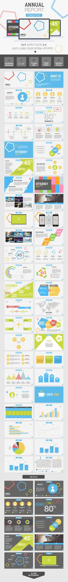 Annual Report Powerpoint Template  #clean #colorful #marketing • Click here to download ! http://graphicriver.net/item/annual-report-powerpoint-template/7054721?s_rank=1042&ref=pxcr