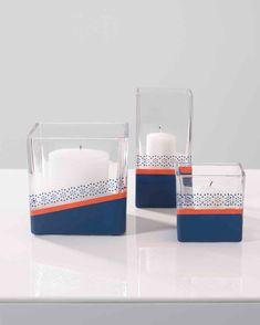 Create your own indigo votive candles with Martha Stewart Glass Etch Cream, Wild Blueberry & Flame acrylic paints. Martha Stewart Crafts, Arts And Crafts, Diy Crafts, Wild Blueberries, Votive Candles, Hurricane Glass, Table Centerpieces, Wine Glass, Indigo