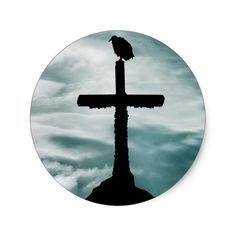 Bird at Top of Cross Collage Illustration Classic Round Sticker #halloween #holiday #creepyhollow #stickers