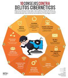 ¿Sabías que México se encuentra en el tercer lugar a nivel mundial en crímenes cibernéticos? Conoce 10 consejos para evitar este tipo de delito. #Infographic