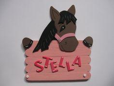 Türschild Pferd braun mit Wunschname von conchila auf DaWanda.com