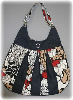 For more of an advanced sewer, this lined, piped handbag made with contrasting fabric is a lovely addition to your collection!   Materials:  50 cm of heavy printed fabric 40 cm of plain fabric (such as denim) 40 cm of lining or canvas 4 x small snap hooks 4 x metal eyelets (6 mm diameter) 1.2 meters of cotton piping 20 cm of iron-on interfacing (medium weight) Thread, ruler, pencil, scissors and pins  Get the Pattern ♥