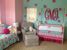 Pink and blue Nursery inspired by Caden Lane crib and big kid bedding!