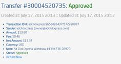 I am getting paid daily at ACX and here is proof of my latest withdrawal. This is not a scam and I love making money online with Ad Click Xpress.  From STPay member: adclickxpress (owner@adclickxpress.com) Transaction Number: 30004520735 Amount: $13.80 Currency: USD Note (if provided): Ad Click Xpress Withdraw #4394736-28979 Transaction Fees: $0.46 Start here: http://www.adclickxpress.com/?r=dabotim