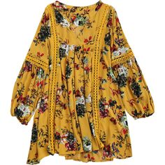 Cut Out Floral Tunic Dress (2705 DZD) ❤ liked on Polyvore featuring dresses, long sleeve floral dress, floral printed dress, yellow floral dress, yellow long sleeve dress and cutout dresses
