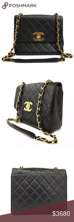 278eebe7a548 Auth CHANEL Lambskin Jumbo CC Square Single Flap Stunning 100% Authentic  CHANEL Jumbo CC Black