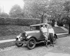 Boys Standing  Next To Ford Automobile 8x10 Reprint Of Old Photo