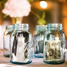 These would be cute table decorations with pictures of the wedding couple  These simple and effective mason jar frames will work for any occasion or event. Why not set them around for everyday decor?