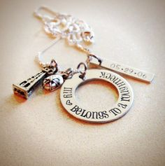 Hand Stamped Custom My <3 Heart belongs to a roughneck, by GabbieGoodies, $22.00. Perfect for oilfield wives and girlfriends!