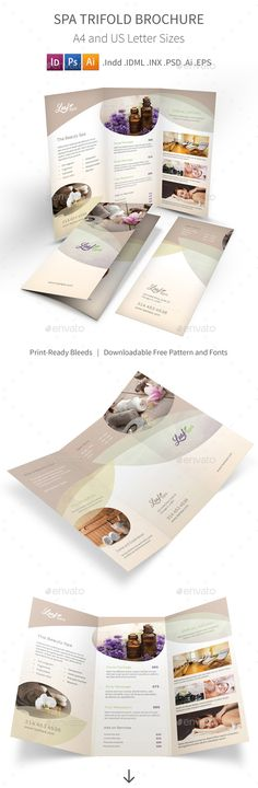 Buy Spa Trifold Brochure 5 by Mike_pantone on GraphicRiver. *Save with Bundle! Spa Print Bundle 5 is also available.Spa Trifold Brochure 5 Clean and professional trifold brochur. Spa Brochure, Creative Brochure, Elegant Business Cards, Cool Business Cards, Letterhead Template, Brochure Template, Logo Templates, Avon Products, Gift Voucher Design
