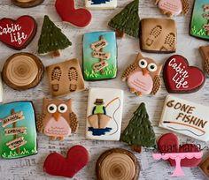 Sugar cookies. Decorated cookies. Cookies. Cabin. Hiking cookies. Fishing cookies