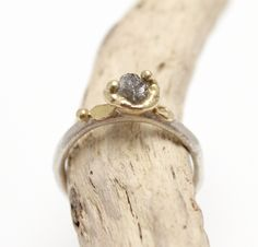 Rough diamond ring, sterling silver and 18ct gold - TGRDR3As well as being very popular as dress rings, Tamara's rough diamond rings are favoured by clients who seek a rough diamond engagem...