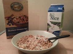 Nature's Path blueberry cinnamon and flax with So Nice soy beverage. Natures Path, Blueberry, Cinnamon, Beverages, Diet, Vegan, Breakfast, Food, Canela
