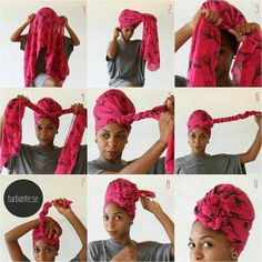 A stylish look for New Year& Eve? Should you have a turban .- Ein stilvoller Look für Silvester? – Haus Dekoration Mehr First we wanted to show you how an African turban can tie - Tie A Turban, Turban Style, Turban Headbands, Hair Wrap Scarf, Scarf Head Wraps, Curly Hair Styles, Natural Hair Styles, Head Scarf Styles, African Head Wraps