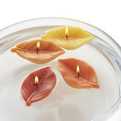 Set these leaf-shaped floating candles adrift as a flickering tribute to autumn. Boxed set of four makes a thoughtful gift for the Thanksgiving host. Cute Candles, Beautiful Candles, Best Candles, Diy Candles, Scented Candles, Natural Candles, Candle Art, Candle Molds, Feng Shui Dicas