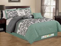 7P Quilted Diamond Spring Floral Garden Comforter Set Queen Cyan Green-Blue Gray…