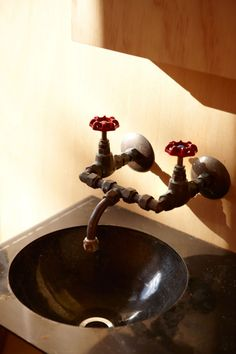 love the industrial bathroom taps Whangapoua / Crosson Clarke Carnachan