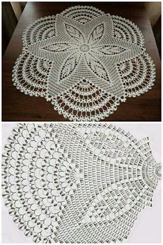 This Beautiful Big White Doily This Pin was discovered by lah Crochet And Knitting Well-designed pineapple lace doily from Magic Crochet magazine Free Crochet Doily Patterns, Crochet Doily Diagram, Crochet Motifs, Crochet Mandala, Thread Crochet, Filet Crochet, Crochet Flowers, Crochet Stitches, Crochet Carpet