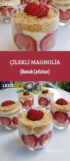 Çilekli Magnolia (Damak Çatlatan) - Tr Tutorial and Ideas My Recipes, Dessert Recipes, Desserts, Dessert In A Mug, Iftar, Biscuits, Food Design, Beautiful Cakes, Magnolia