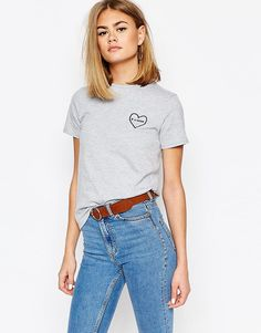 Daisy+Street+T-Shirt+With+Heart+Embroidery