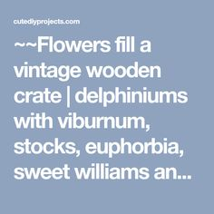 ~~Flowers fill a vintage wooden crate | delphiniums with viburnum, stocks, euphorbia, sweet williams and British-grown foliages | New Covent Garden Market~~ More - Gardening Prof