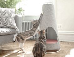 Evan Ryan of WISKI has created The Cone, a modern cat bed that doubles as a scratching post, that won't look out of place in any modern home. Sisal, Cat Safe Plants, Gatos Cool, Cat House Diy, Cat Scratching Post, Cat Scratcher, Cat Furniture, Diy Stuffed Animals, Cat Life