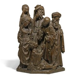 Lot   Sotheby's juillet 2012. NORTHERN NETHERLANDS, CIRCA 1500-1520 RELIEF WITH THE RAISING OF LAZARUS oak   22.8cm., 9in.