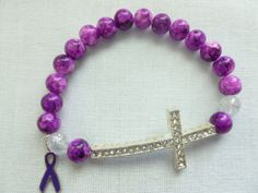 Purple Glass  and Purple Ribbon Awarness by CaseyRoseCollection, $14.00