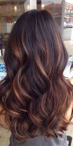 Brunette with copper high lights