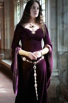 purple velvet medieval gown