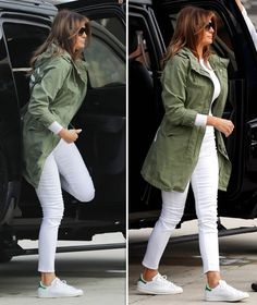 melania trump donald news pictures latest womens fashion Melania Trump defends controversial 'I don't care' jacket via spokesperson Older Women Fashion, Black Women Fashion, White Fashion, Look Fashion, Fashion Outfits, Womens Fashion, Woman Outfits, Fashion Fall, Fashion 2018