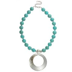 HandPicked - Turquoise Beaded Silver Pendant Necklace