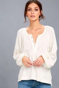 #Lulus - #Lulus Acadia White Long Sleeve Henley Top - AdoreWe.com