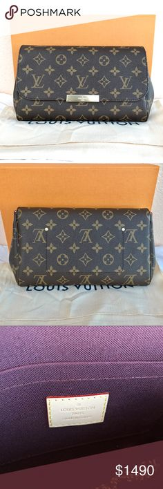 Louis Vuitton Favorite MM Monogram Made in France Authentic BRAND NEW Louis Vuitton Favorite MM in Monogram Never carried Made in France Comes with a box and dustbag. Still have a plastic on the plate (both sides). 11.0 x 6.7 x 1.6 inches  (LxHxW)  - Ingenious magnetic closure - Golden color metallic pieces - Natural cowhide leather trim - Interior flat pocket Date code:MI2107 Selling higher than the retail price bec. it is sold out in stores and online. The buyer is responsible for paying…