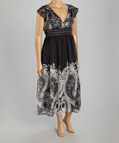 Black Paisley Surplice Dress #zulily $24.99