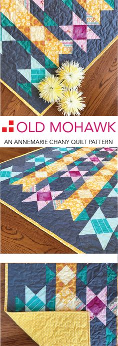 Make this Old Mohawk Quilt Pattern look bright and cheerful with springy brights on a Chambray background.  Chambray adds texture and highlights fabric prints.  Read more...