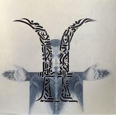 Angel On Right -Devil On Left , work on paper by new York based Iraqi artist Ayad Alkadhi Middle Eastern Art, Arabic Art, Devil, Moose Art, Calligraphy, Angel, Fine Art, Islamic, Artist