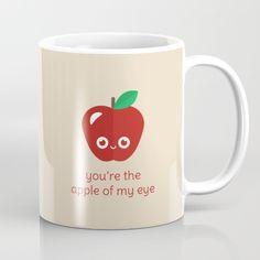You're the Apple of My Eye Mug - pun, puns, apple, apples, fruit, golden delicious, red, macintosh, food, funny, cute, love, relationship, tasteful, tasty, relationships, valentine, valentines, vector, art, illustration, drawing, design