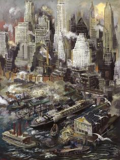 George Grosz - New York Harbor
