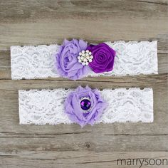 Lavender shabby flowers wedding garter set, purple wedding