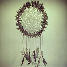 Driftwood and doily white dreamcatcher by Driftwood Gypsy